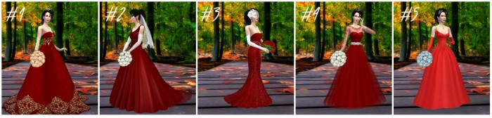 bridal gown rose red vote collage