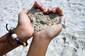 heart beach sand